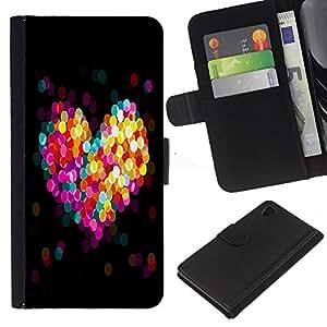 Sony Xperia Z4 / Sony Xperia Z4V / E6508 , la tarjeta de Crédito Slots PU Funda de cuero Monedero caso cubierta de piel (Bokeh Colorful Heart)