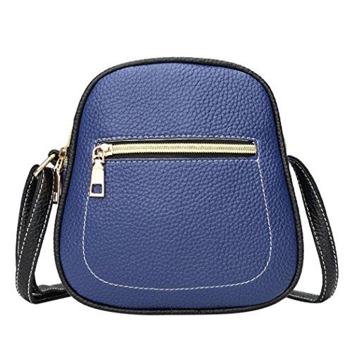Price comparison product image Pocciol Vintage Shoulder Bag Fashion Women Multicolor Zipper Leather Crossbody Bag Phone Bag (Blue)