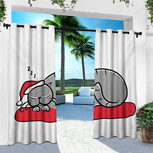 (leinuoyi Christmas, Outdoor Curtain Set of 2 Panels, Cat with Santa Claus Hat Whiskers on The Pillow Winter Night Cartoon Artwork, Fabric W120 x L96 Inch White Red Grey)
