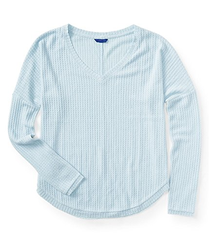 Aeropostale Womens Incredibly Soft LS Thermal Sweater, Blue, X-Large ()