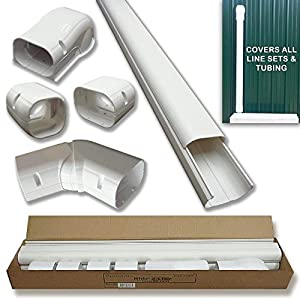 "Hide-A-Line 4"" 14 Ft Mini split and Central Air Conditioner & Heat Pump Line Set Cover Kit Decorative Tubing Cover"