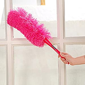 DZT1968 Magic Soft Microfiber Cleaning Duster Dust Cleaner Handle Feather Static Anti (pink)