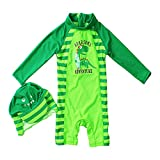 Tuoyi One Piece Swimsuits for Baby Boys Summer Sun Protection Sunsuit Toddler Boys Swimsuit by (3T, Green)