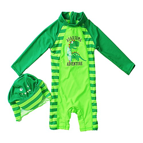 Tuoyi One Piece Swimsuits for Baby Boys Summer Sun Protection Sunsuit Toddler Boys Swimsuit by (3T, Green) by Tuoyi