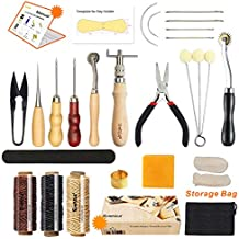Leather Sewing Tools SIMPZIA 24 Pieces Leather Tools Craft DIY Hand Stitching Kit with Groover Awl Waxed Thimble Thread for Sewing Leather, Canvas,Basic Tools for Beginner