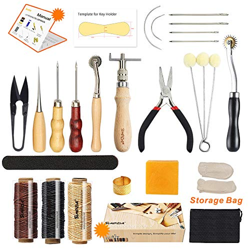Scissors Leather - Leather Sewing Tools SIMPZIA 24 Pieces Leather Tools Craft DIY Hand Stitching Kit with Groover Awl Waxed Thimble Thread for Sewing Leather, Canvas,Basic Tools for Beginner