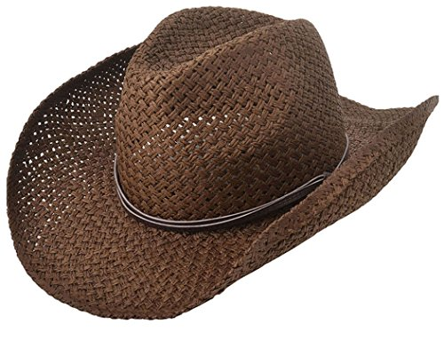 Halconia Classic Straw Cowboy Hat Western w/Wide Brim and PU Band, Chocolate