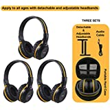 3 Pack of Wireless Car Headphones, Wireless Headphones for Kids, in Car Wireless Headphones with Carrying Case for Universal Rear Entertainment System, 2 Channel Wireless Headphones