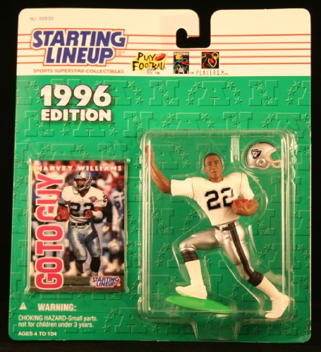 HARVEY WILLIAMS / OAKLAND RAIDERS 1996 NFL Starting Lineup Action Figure & Exclusive NFL Collector Trading Card (Viking Trail Line)