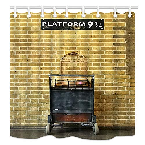 NYMB Platform 9 3/4 at Station Backdrop Shower Curtain, Bird Cage on Trolley Against Brick Wall to Magical World, Mildew Resistant Fabric Shower Curtains for Kids Bathroom, Bath Curtain ()