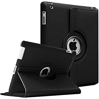 Fintie Apple iPad 2/3/4 Case - 360 Degree Rotating Stand Smart Case Cover for iPad with Retina Display (iPad 4th Generation), the new iPad 3 & iPad 2 (Automatic Wake/Sleep Feature) - Black