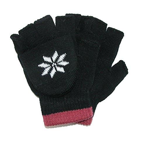 CTM Boys' Stretch Convertible Fingerless Winter Gloves