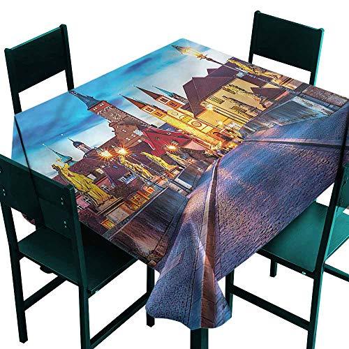 DONEECKL Square Tablecloth Urban Bavaria Germany Bridge Washable Tablecloth W70 xL70