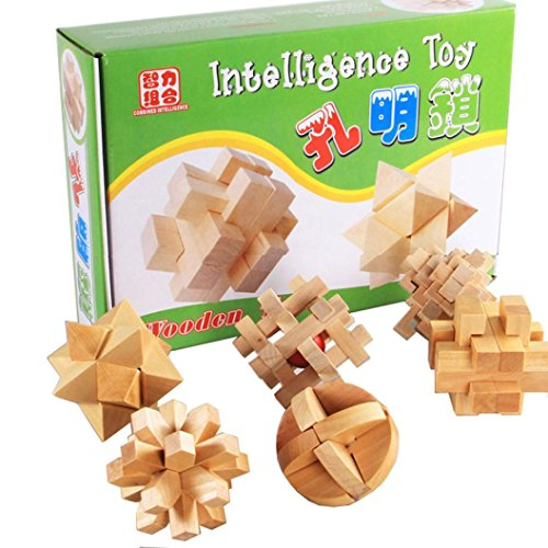 SANNYSIS 6PCS 3D IQ Game Fun Puzzle Wooden Intelligence Brain Teaser Toy For Party Favors (Muticolor) by Sannysis