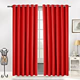 Blackout Ring Top Curtains by Moonlight Thermal Interwoven Pair Blackout Eyelet Curtains Red 168 x 137 CM for Window Treatment Blinds & Make your bedroom Living Room kitchen Nursery & Kitchen New Look and Fresh (66' Width x 54' Drop, Red)