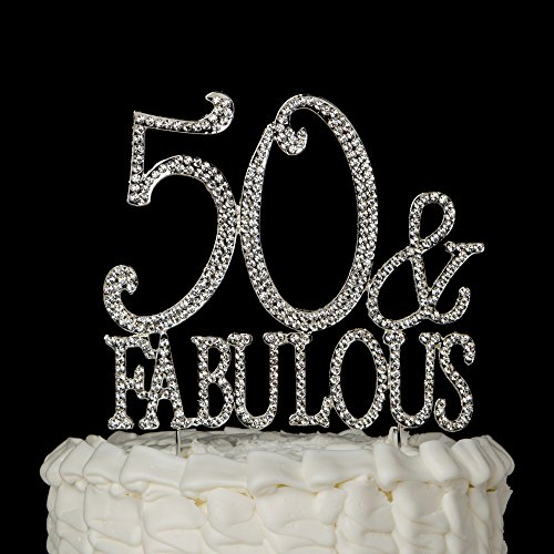 50-Fabulous-Cake-Topper-Silver-for-50th-Birthday-Party-Decoration-Supplies-50-Fabulous-Silver