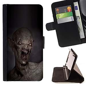 """For Samsung Galaxy Note 5 5th N9200,S-type Dientes Kill Monstruo Muerte Creepy"""" - Dibujo PU billetera de cuero Funda Case Caso de la piel de la bolsa protectora"""