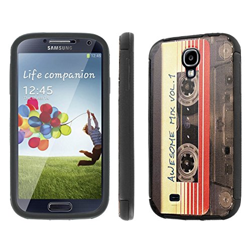 Samsung Galaxy S4 Case, [NakedShield] [Black] DUO Shock Resistant Armor Case - [Cassette Awesome Mix Vol. 1] for Samsung Galaxy S4