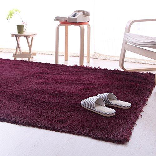 Mordern Anti-Skid Plush Shaggy Area Rug Carpet Nonslip Soft Fluffy Floor Mat for Dining Bedroom Home 80X160cm 10 Colors (Wine) ()