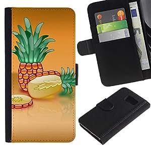 KLONGSHOP / Tirón de la caja Cartera de cuero con ranuras para tarjetas - Fruit Macro Pineapple Slice;; - Samsung Galaxy S6 SM-G920