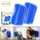 Kingtree Cat Self Groomer, 2 Pack Wall Corner Groomers Soft Grooming Brush Massage Combs for Short Long Fur Cats, Softer Massager Toy for Kitten Puppy - Blue
