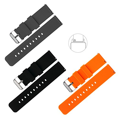 Vetoo 22mm Quick Release Silicone Watch Band with Adjustable Metal Clasp,Black/Dark Gray/Passion Orange,Pack of 3-Soft Rubber Bands