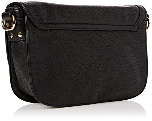 LOLA CASADEMUNT Bolso bandolera negra asa brillantes tachas - Bolso de hombro para mujer, color unico, talla Única