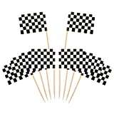 100 Pack Checkered Racing Flag Party Cupcake Picks Toothpick Flag Dinner Flags Cake Toppers...