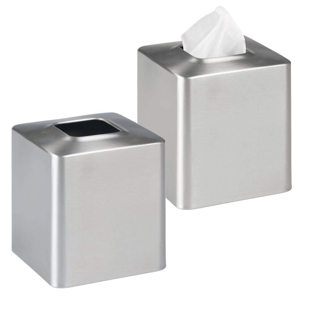 mDesign Facial Tissue Box Cover/Holder for Bathroom Vanity Countertops - Pack of 2, Brushed Stainless Steel