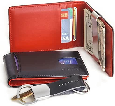 Genuine Leather Front Pocket Bifold Money Clip Wallet Gift Set With Keychain