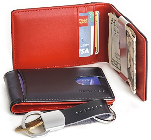 Genuine Leather Front Pocket Bifold Money Clip Wallet Gift Set With Keychain (Red Mens Wallet)