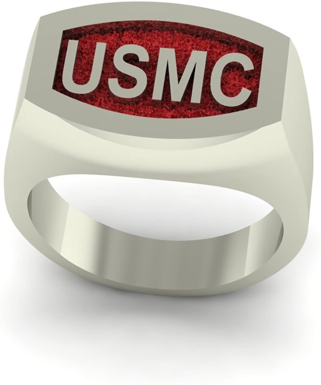 Continuum Sterling Silver USMC Bold Signet Ring with Red Backaground
