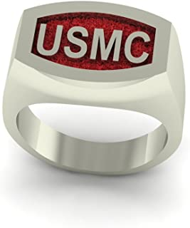 product image for Continuum Sterling Silver USMC Bold Signet Ring with Red Backaground