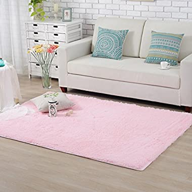 Hughapy Home Decorator Modern Shag Area Rugs Super Soft Solid Living Room Carpet Bedroom Rug and Carpets,80 120cm(Pink)