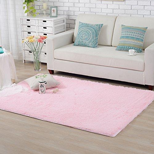 Hughapy Home Decorator Modern Shag Area Rugs Super Soft Solid Living Room Carpet Bedroom Rug and Carpets,80 120cm(Pink)