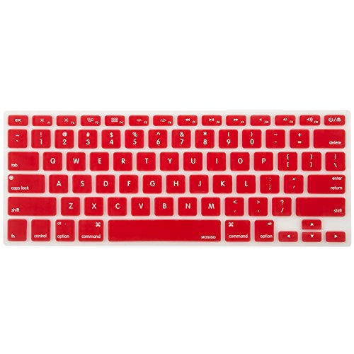 MOSISO Keyboard Cover Silicone Skin Compatible MacBook Pro 13 Inch, 15 Inch (with or without Retina Display, 2015 or Older Version) MacBook Air 13 Inch, Red