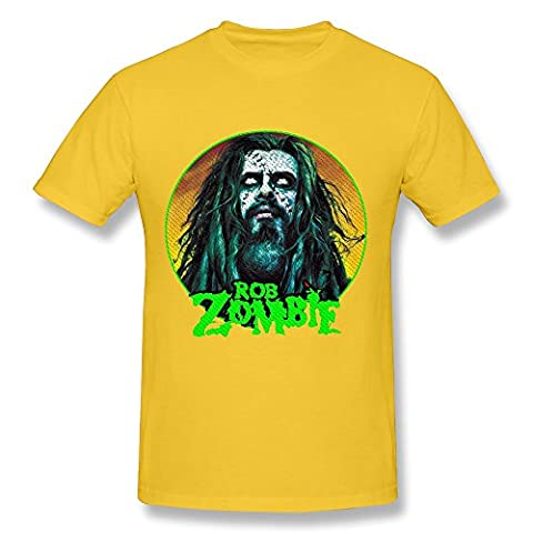 Men's Rob Zombie White Zombie Screw Neck T Shirts Size XS Yellow (Educated Horses Vinyl)