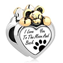 Charmed Craft I Love You To The Moon And Back Lovely Bear Heart Charm Beads New Jewelry For Bracelets