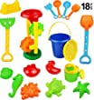 Click N Play 18 Piece Beach sand Toy Set, Bucket, Shovels, Rakes, Sand Wheel, Watering Can, Molds, from Click N Play