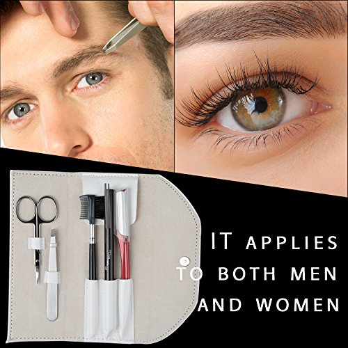 5 In 1 Eyebrow Kit for Man and Woman BIFY Unisex Eyebrow Grooming Gift Eyebrow Care Set of Eyebrow Scissors Eyebrow Sharper Eyebrow Pencil Eyebrow Tweezer and Eyebrow Brush/Comb with white Travel Case (Eyebrow Grooming Brush)