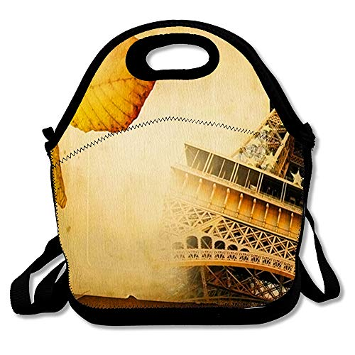 Insulated Lunch Bag Brown Album Autumn Paris Retro Old Eiffel Page in Yellow Aged Artistic Border Cardboard Romantic Reusable Lunch Tote for Work and School (Autumn Page Borders)