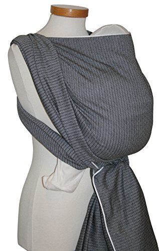 Storchenwiege Woven Cotton Baby Carrier Wrap (5.2, Leo Black & White) by Storchenwiege