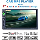 LSLYA 7inch HD bluetooth MP5 player TFT touch screen FM AM RDS Radio car video USB TF Aux Input Color screen Car Stereo AUX-in + Subwoofer Steering wheel controls+Remote Control
