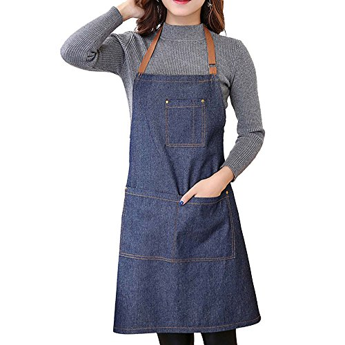 Artmoki Apron Men Women for Kitchen,Cooking,Chef,BBQ, and Grill Apron Denim Cotton Stain Oil Resistant with Pocket Belt Adjustable Easy Comfortable