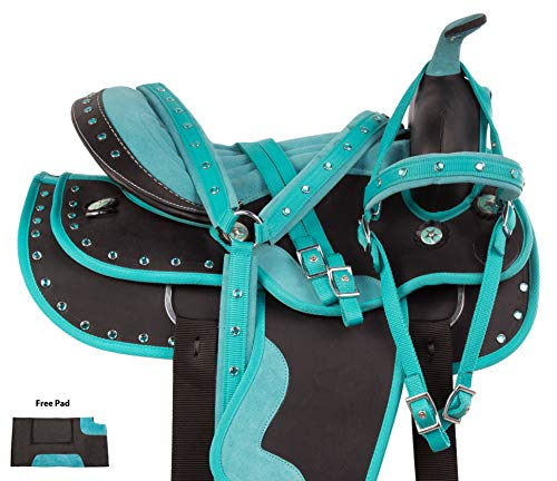 AceRugs Western Cordura Turquoise Pleasure Trail All Purpose Show Horse Saddle TACK Package (16)