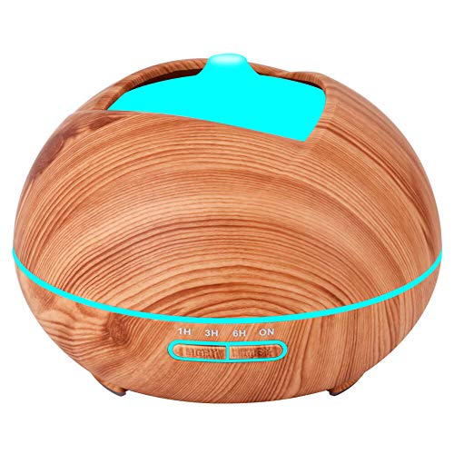 (Essential Oil Diffuser Humidifier Vaporizer - Aromatherapy Ultrasonic Cool Mist Air 7 Color Night Light Personal Aroma Diffuser for Office Home Bedroom Yoga Spa Baby Room Wood Grain)