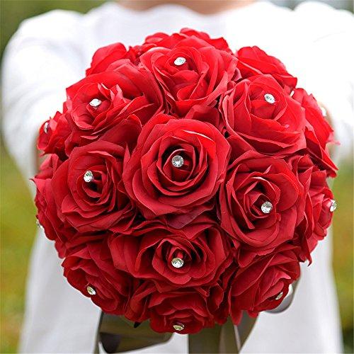 KUKI SHOP Handmade Romantic Satin Roses Crystal Rhinestones Wedding Brooch Bouquet Bridal Holding Bouquet Bridal Throw Bouquet Bridesmaid Bouquet Wedd…