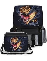 Kidaroo Tearing T-Rex Dinosaur School Backpack & Lunchbox for Boys, Girls, Kids