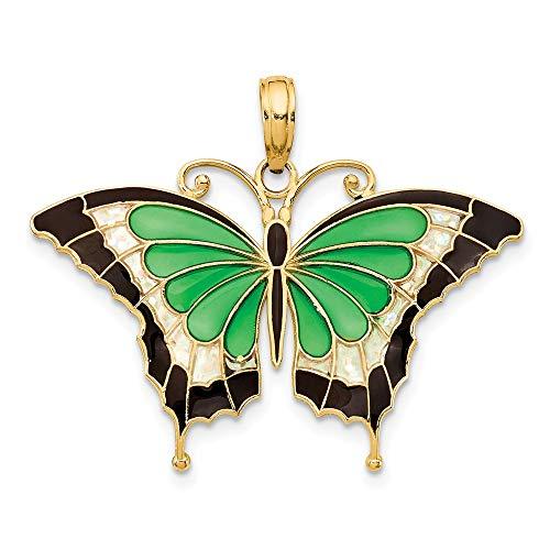 14K Yellow Gold Green Enameled Butterfly Pendant ()