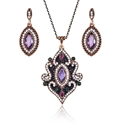 LUYUAN JEWELRY Vintage Retro Gemstone Pendant Necklace and Earring Jewelry Set Antique Women Necklace Gift (Antique Set Earrings)